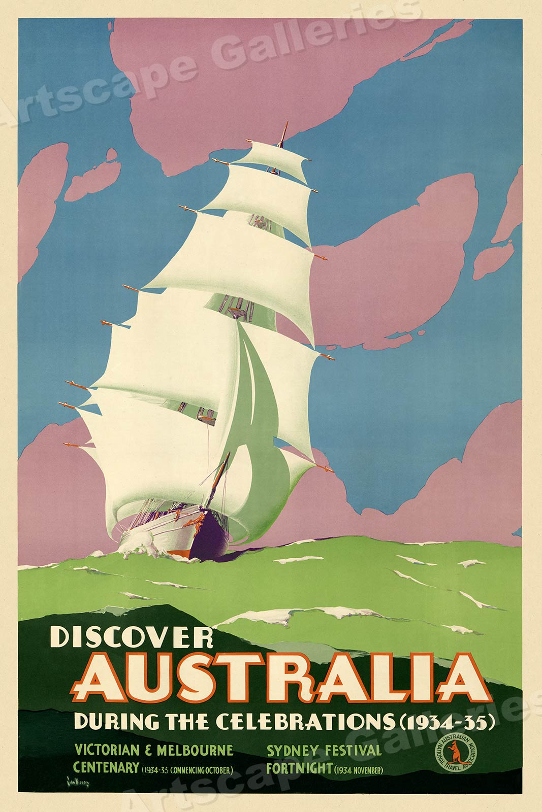 16x24 Australia Sun and Surf 1930s Vintage Diving Travel Poster