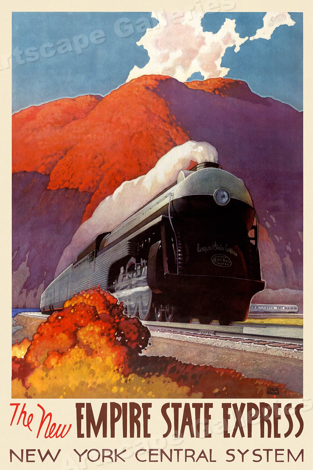 16x24 NY Empire State Express 1940s Vintage Style Railroad Travel Poster