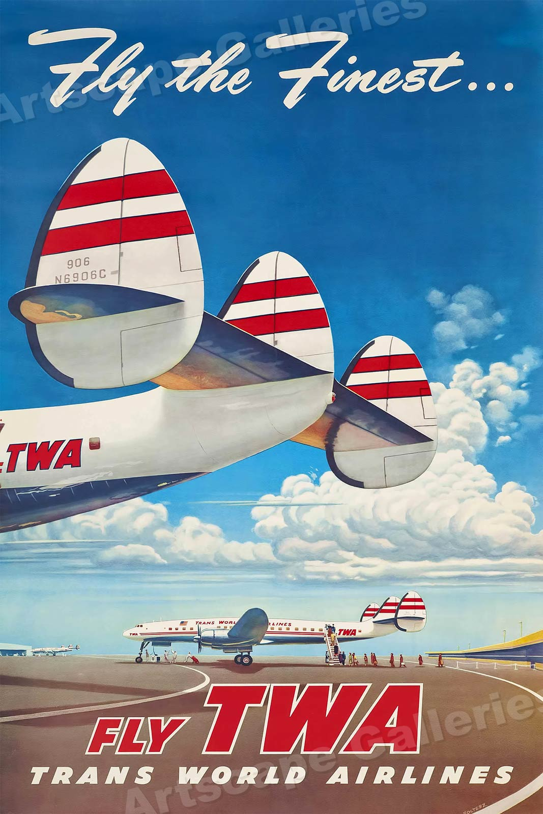 1950s Fly The Finest Fly Twa Vintage Style Airline