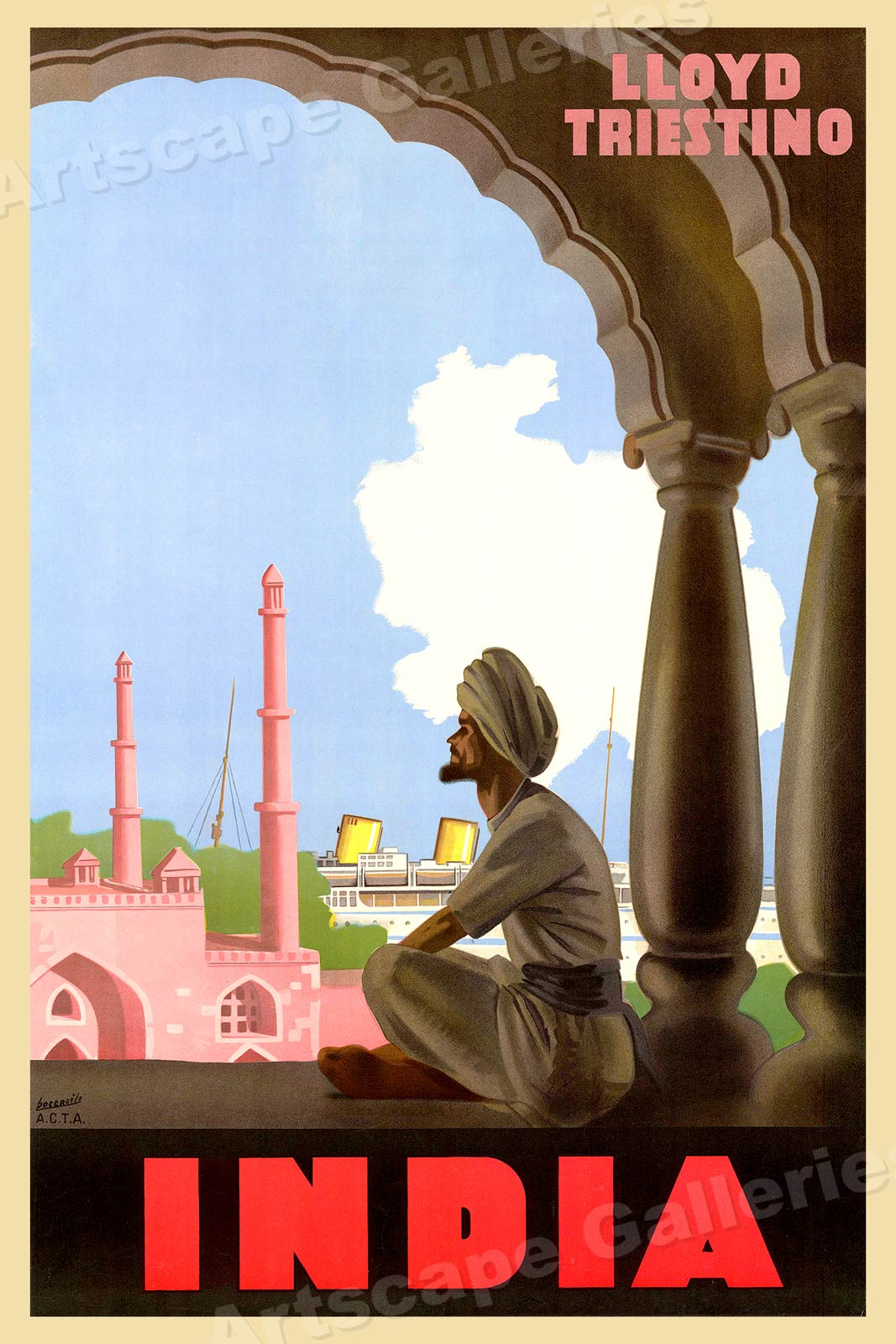 "India /""Lloyd Triestino/"" 1949 Vintage Style Travel Poster 24x36"