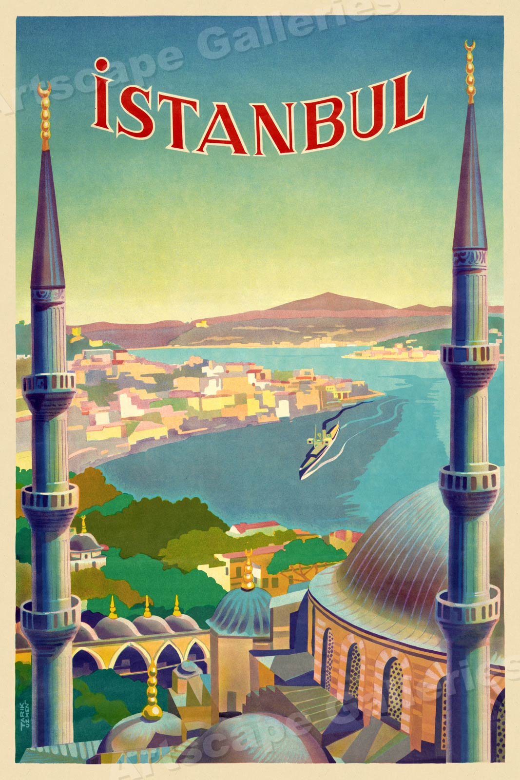 Istanbul vintage Travel Poster wall art Istanbul Turkey Travel poster