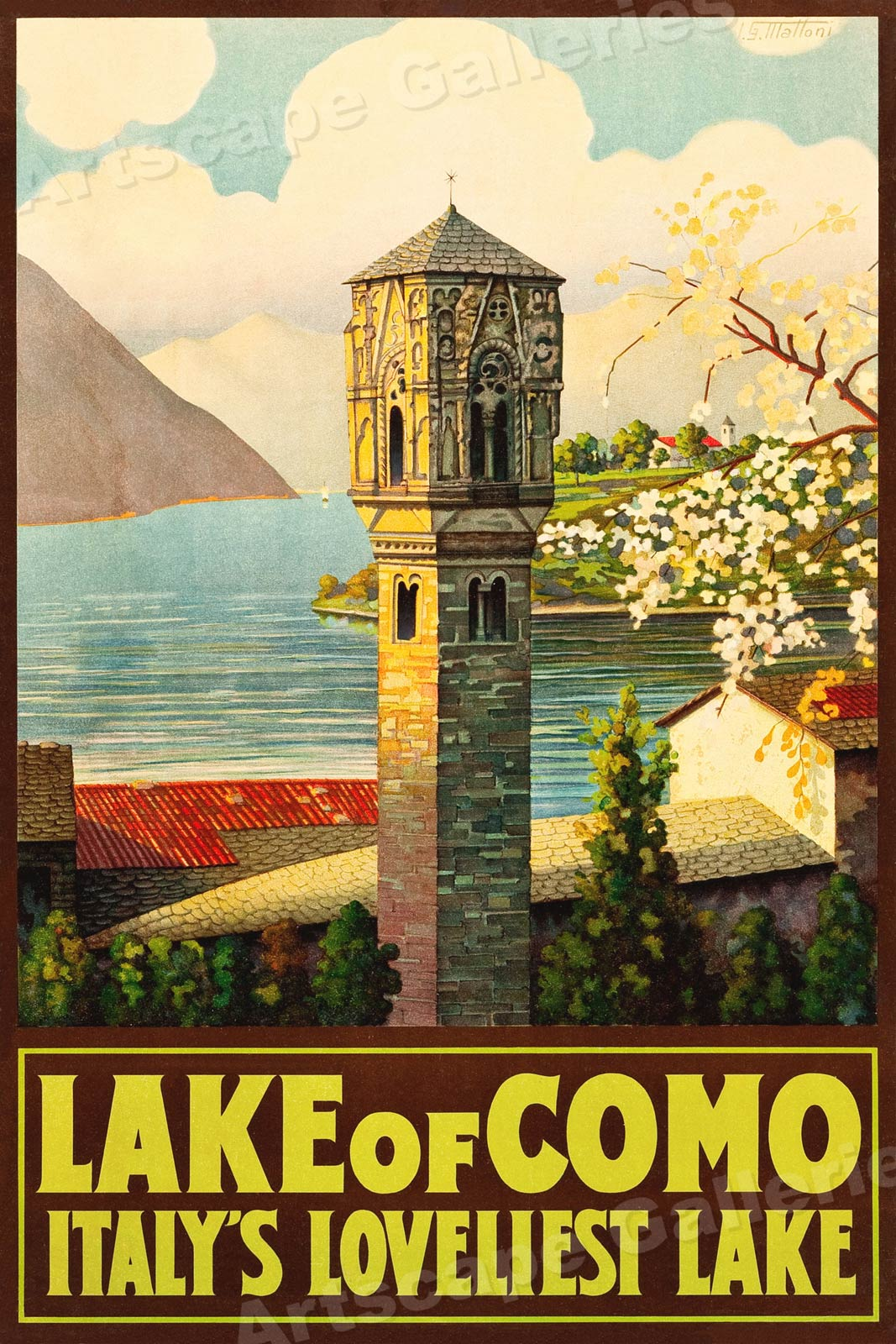 """Italian Lakes LARGE A1 Size 23/"""" x 33/"""" Glossy Vintage Travel Poster!!"""
