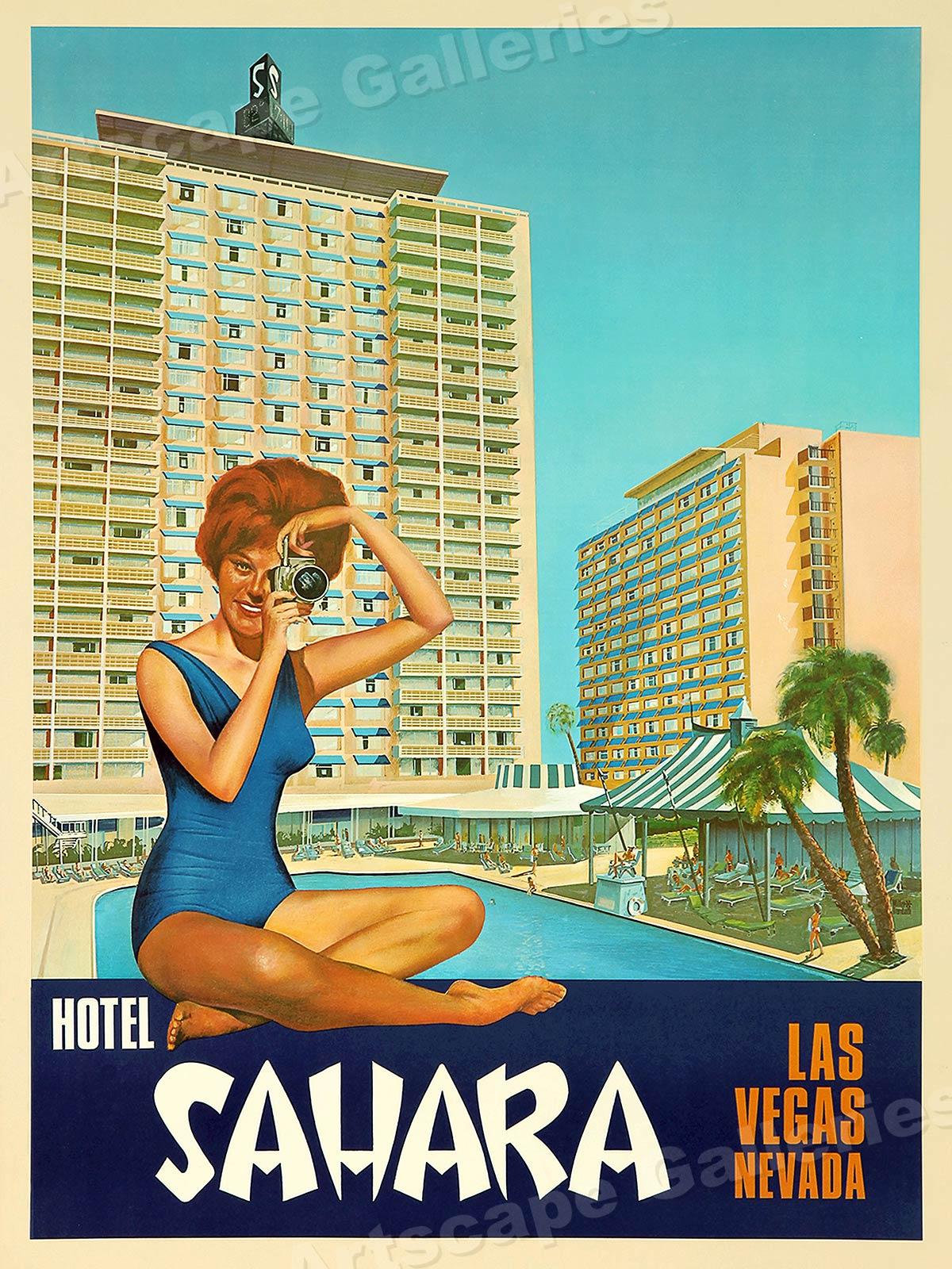 Las Vegas 1960s Sahara Hotel Vintage Style Vegas Travel Poster 20x28