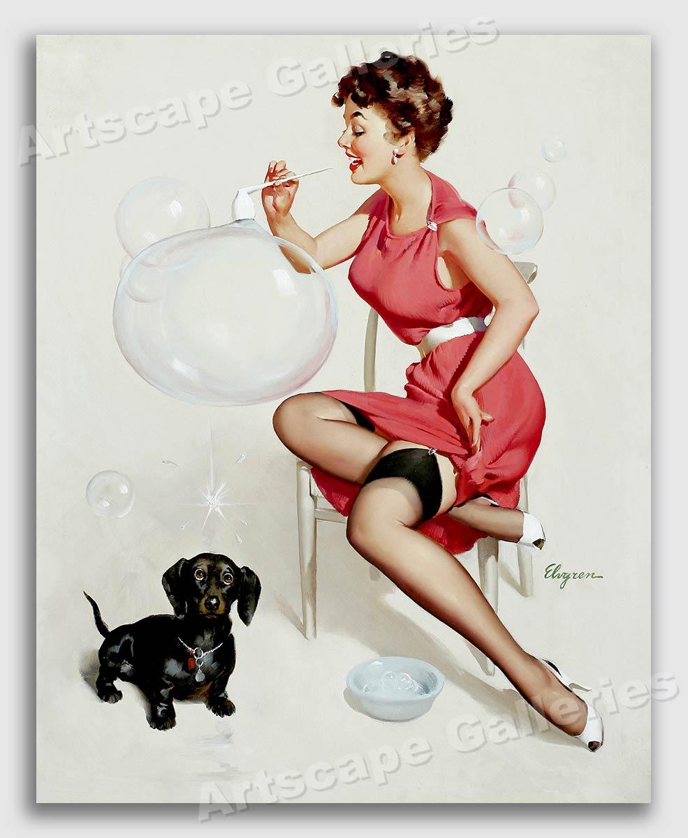 1950s Elvgren Pin Up Poster Neat Trick Bubbles Dachshund Dog Poster 16x20 Ebay