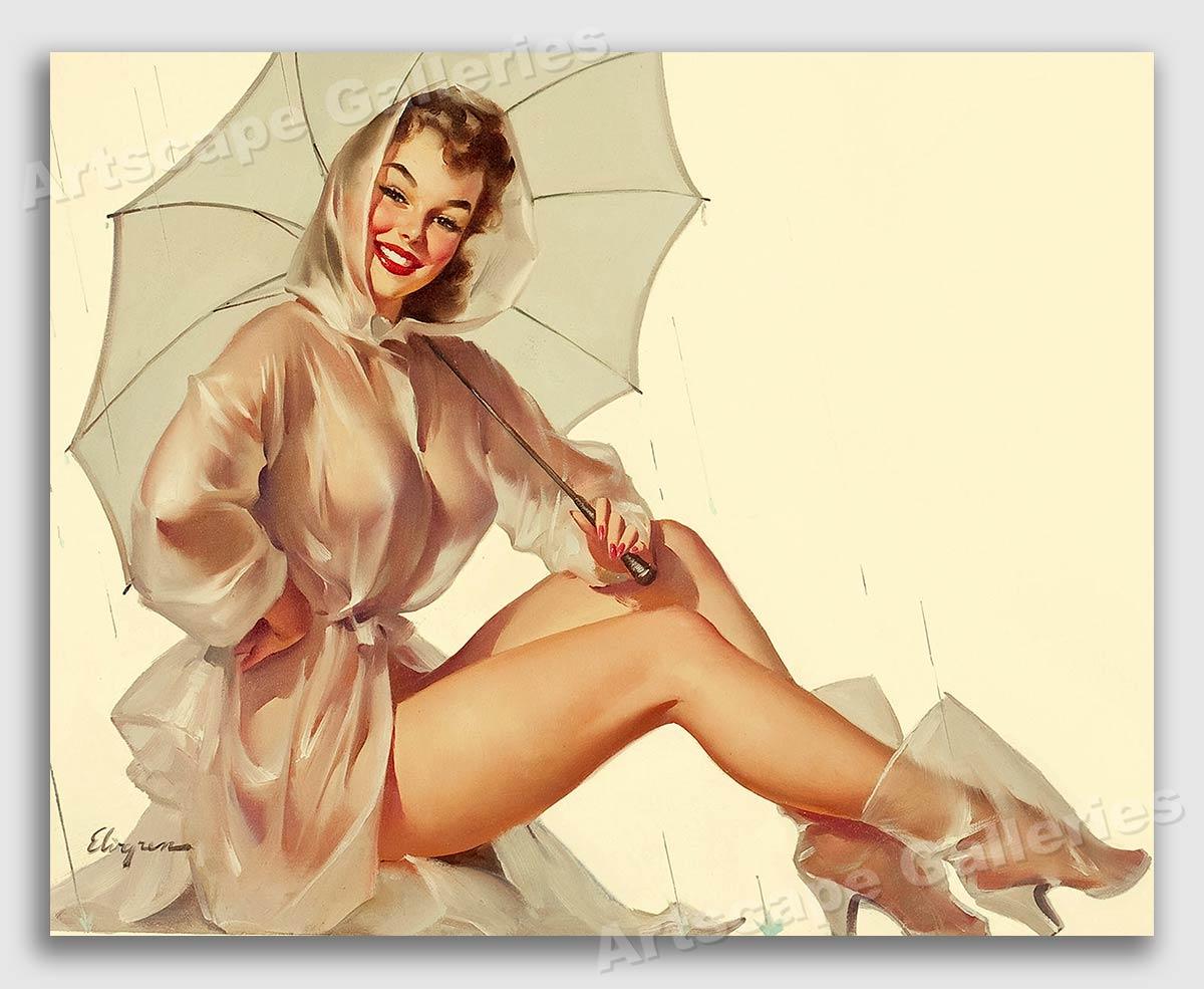 "24x30 1950/'s Elvgren Pin-Up Girl Poster /""Captivating/"""