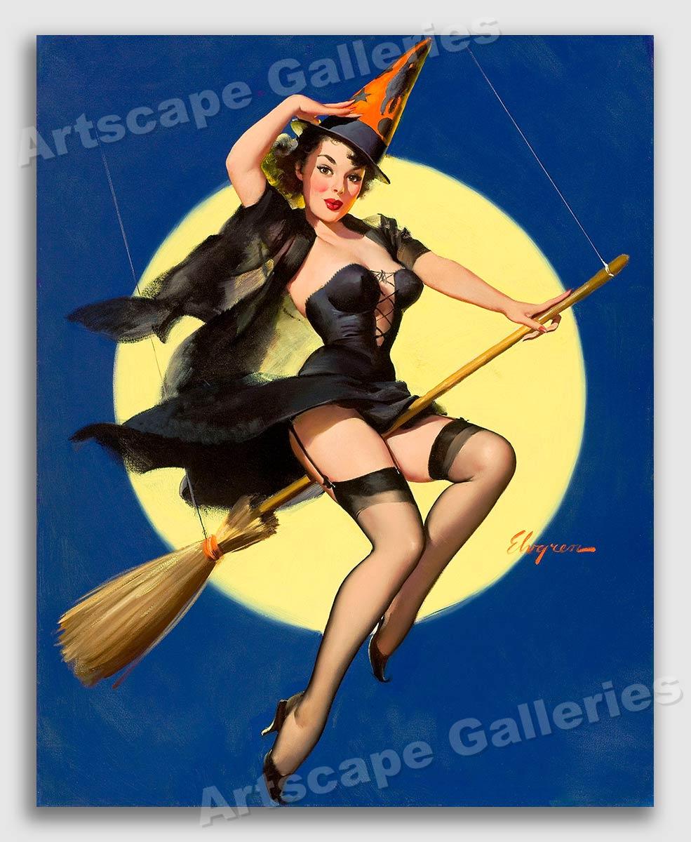 "gil elvgren 1958 pinup girl ""riding high"" halloween witch poster"