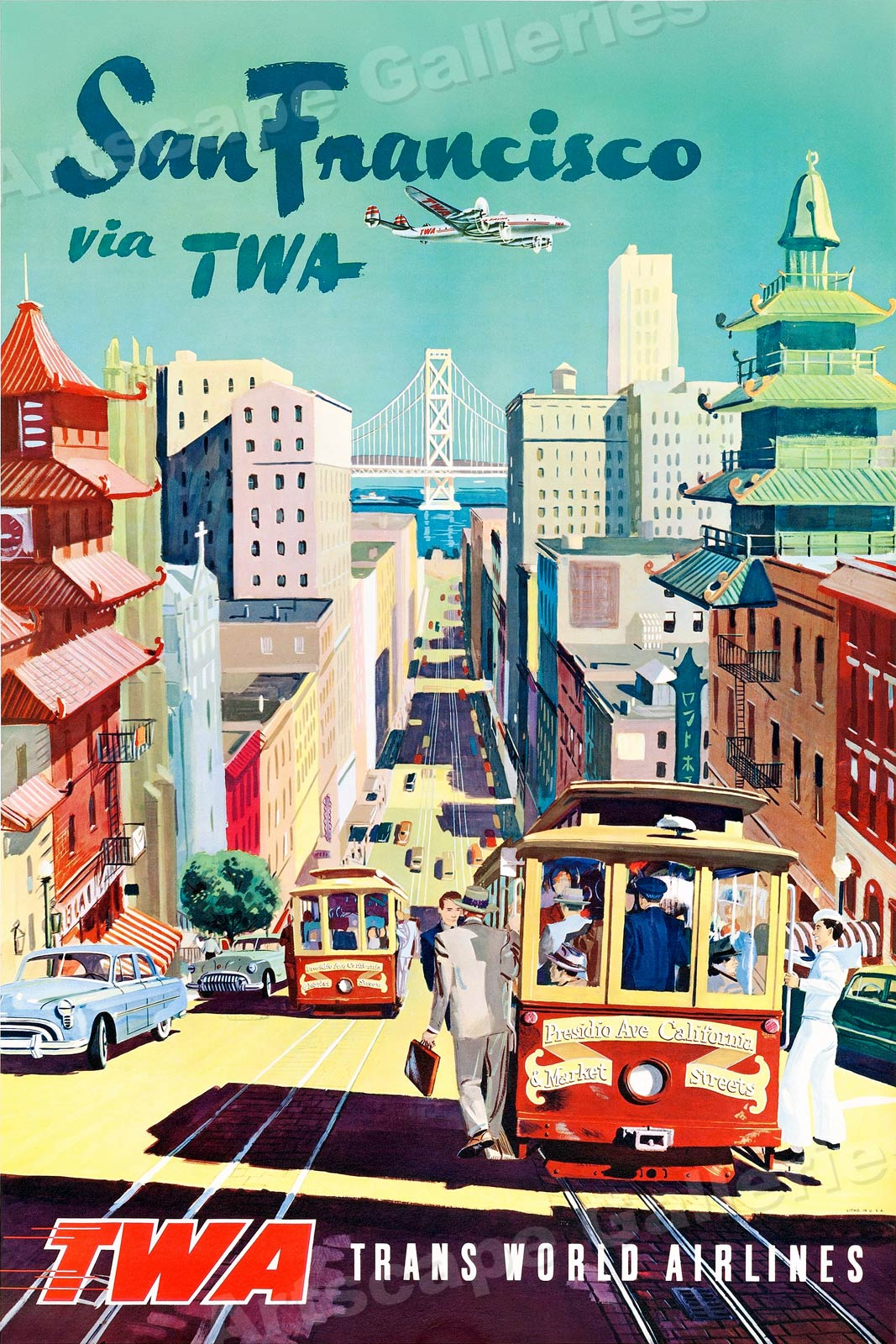 1950/'s San Francisco TWA Vintage Style Travel Poster 24x36