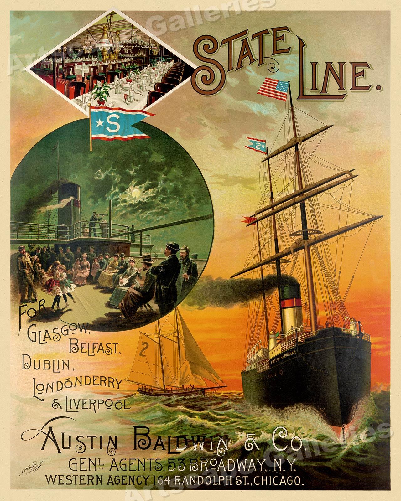 1889 Steamship to Europe SS Nebraska Vintage Style Travel Poster 16x20