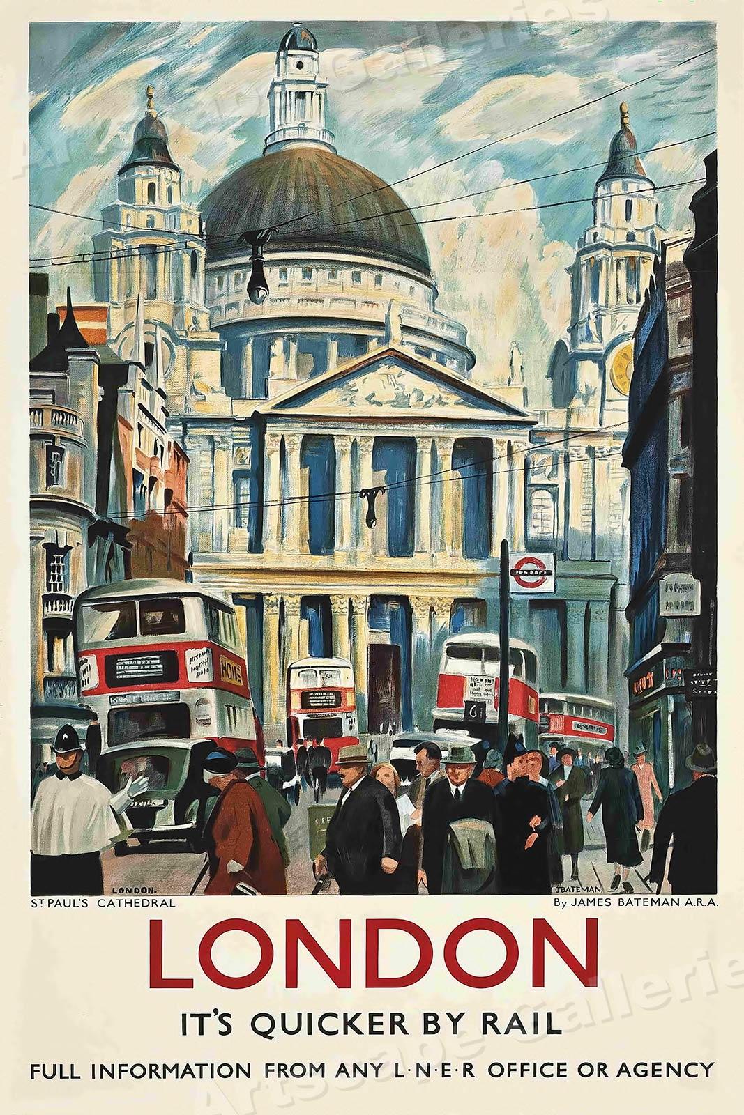 20x30 England Big Ben Parliament Vintage 1953 Travel Poster