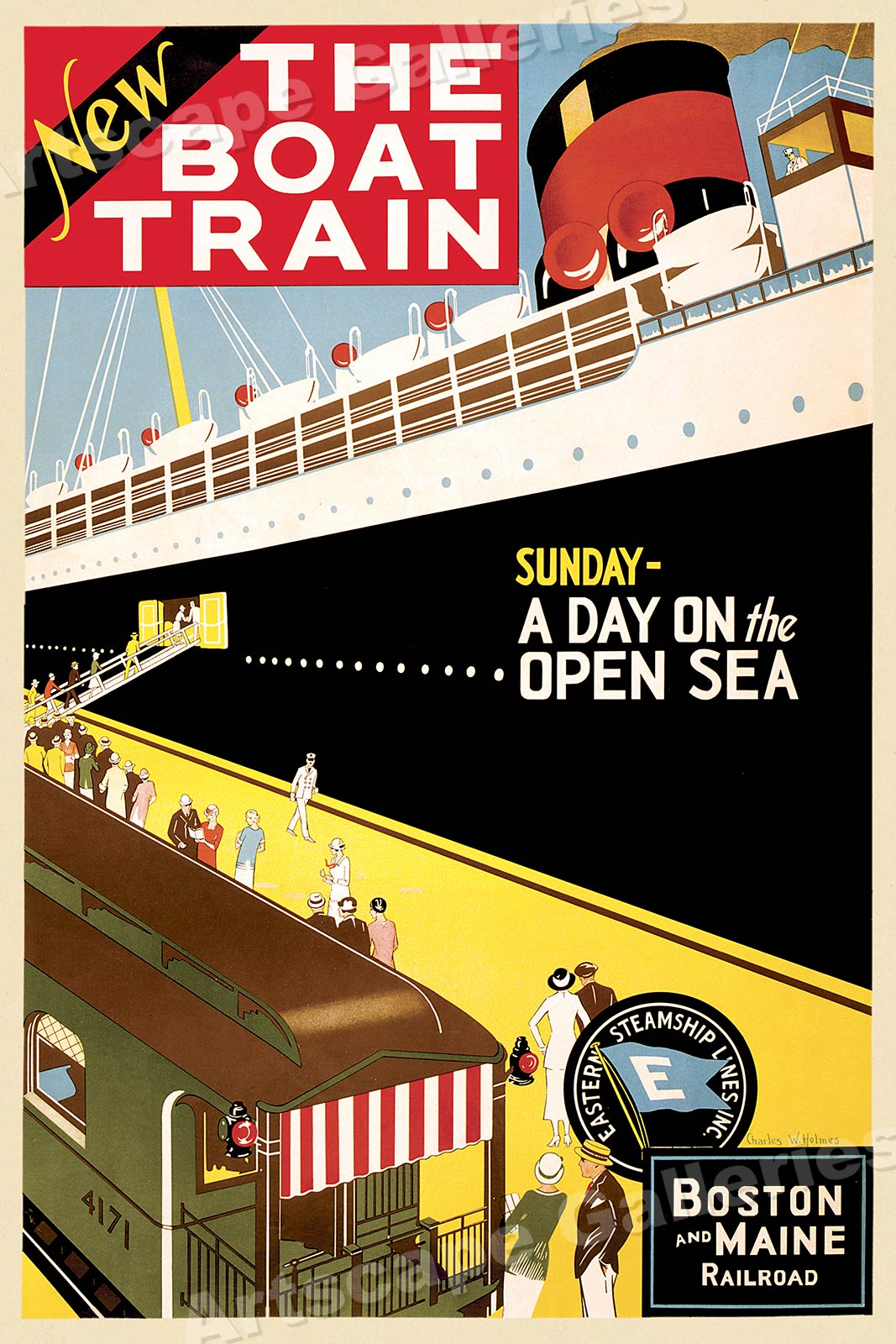 20x30 1940s Vintage Style Railroad Travel Poster See Boulder Dam