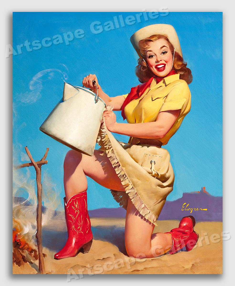 """1950/'s Elvgren Pin-Up Girl Poster /""""Tops in Service/"""" Cowgirl Coffee 24x30"""