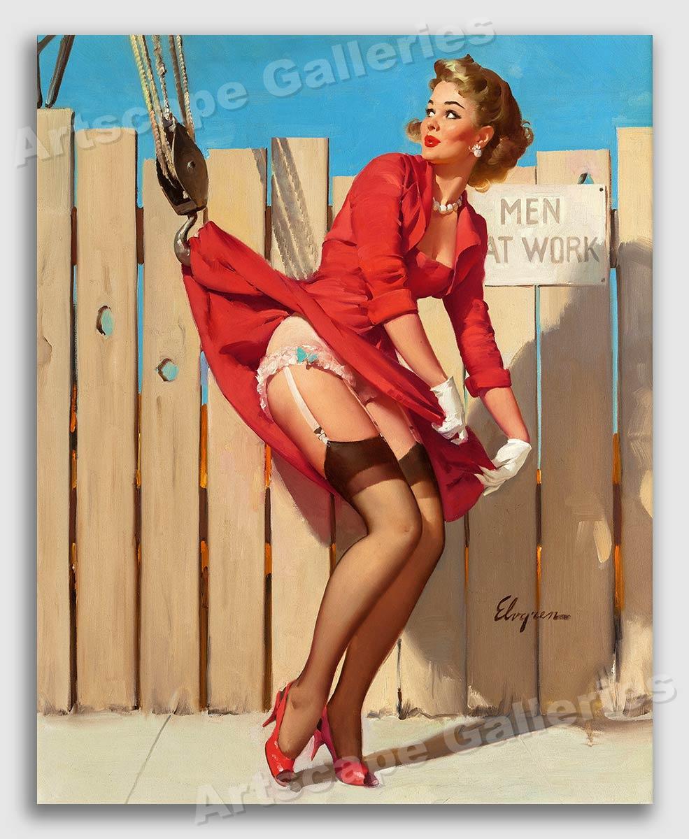 Elvgren 1961 Sexy Pin Up Girl Unexpected Lift Crane Upskirt