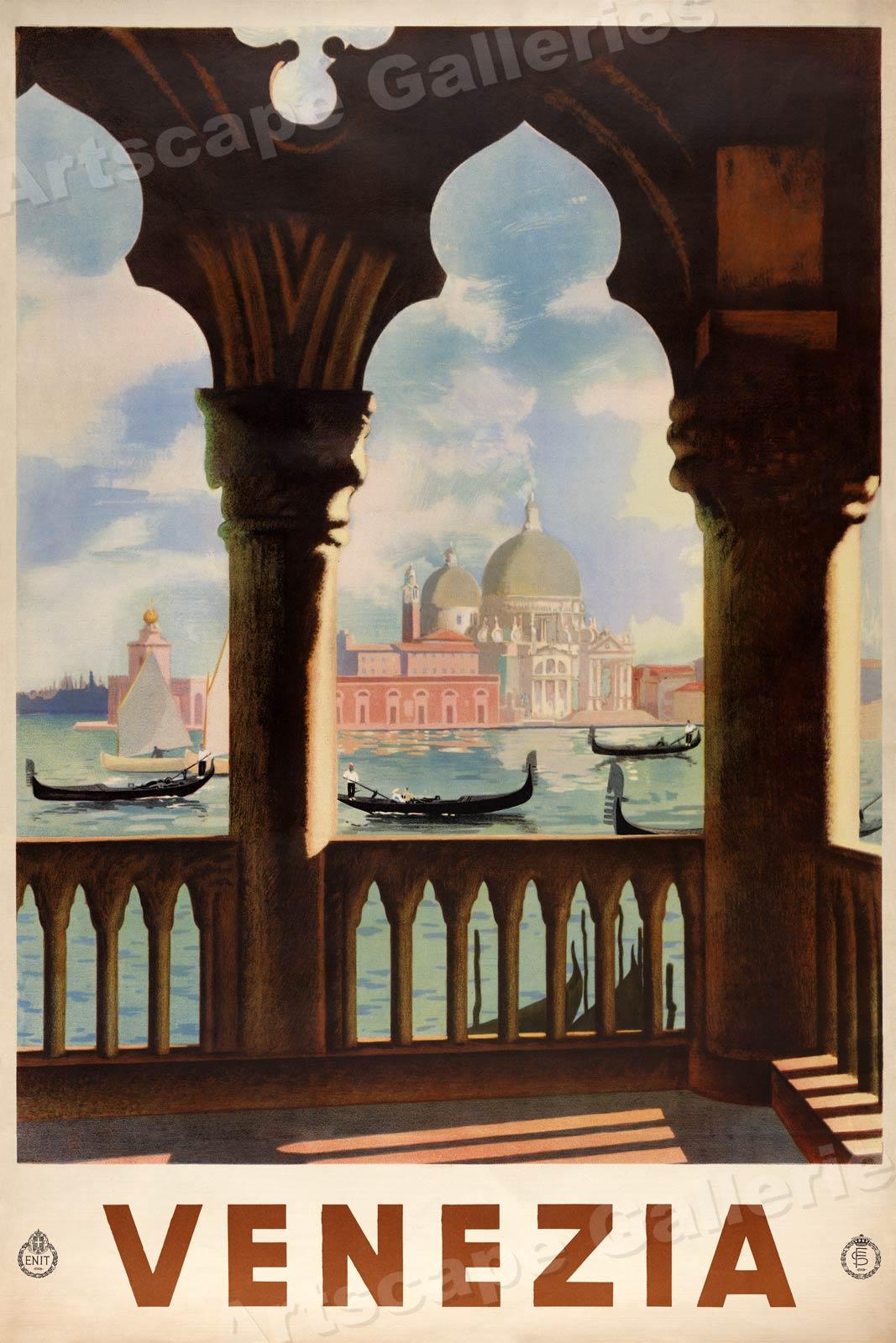 "24x36 1930s /""Lac de Como/"" Vintage Style Italian Travel Poster"