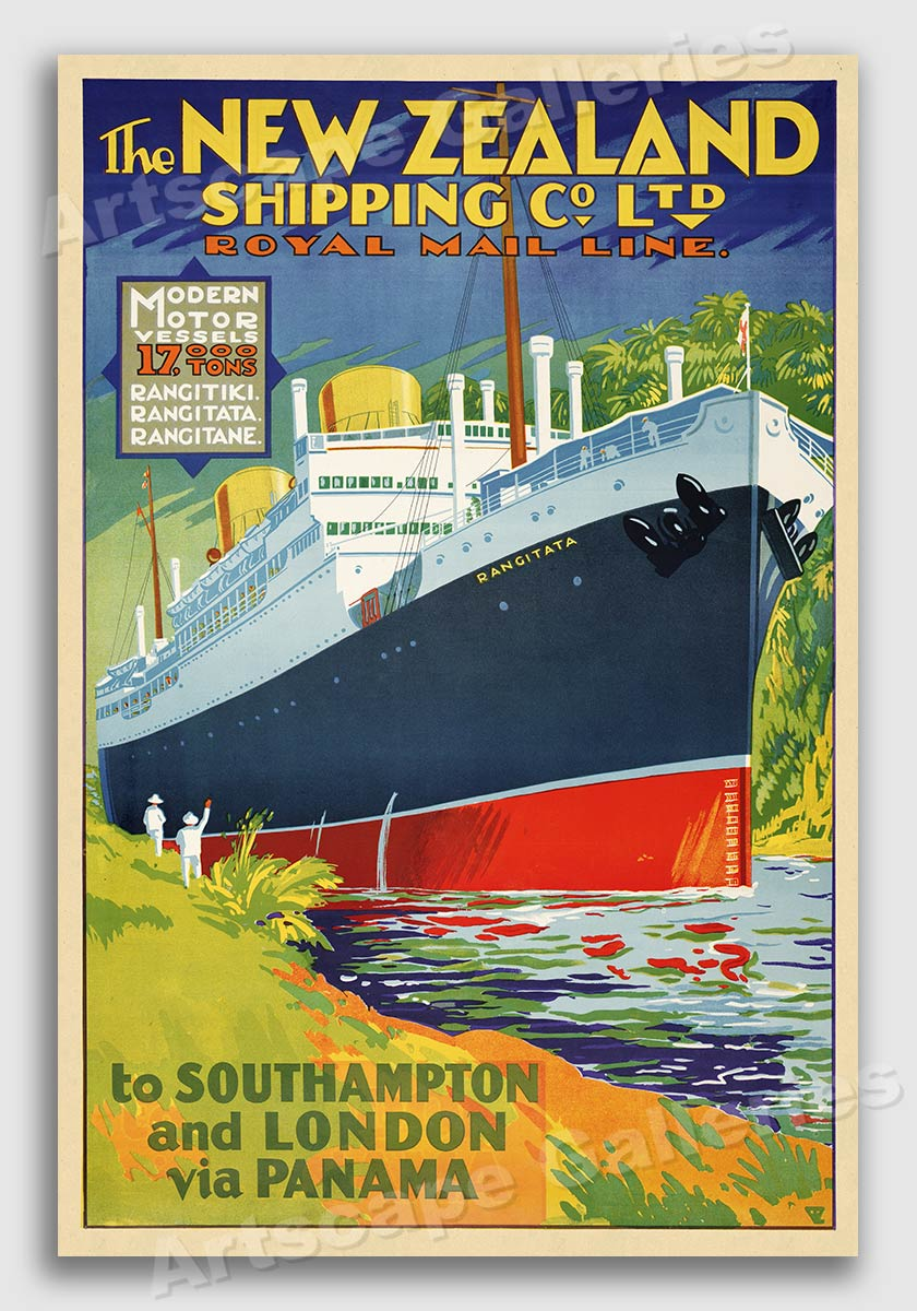 New Zealand Shipping 1930s Travel Poster 20x30 London Via the Panama Canal