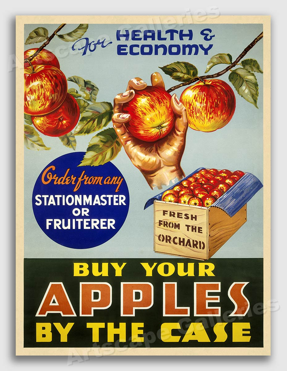 New Zealand Apples Vintage Apple advert Poster reproduction.
