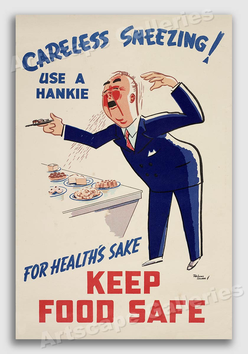 Careless Sneezing 1940s Unusual Vintage Health Poster 16x24 Ebay