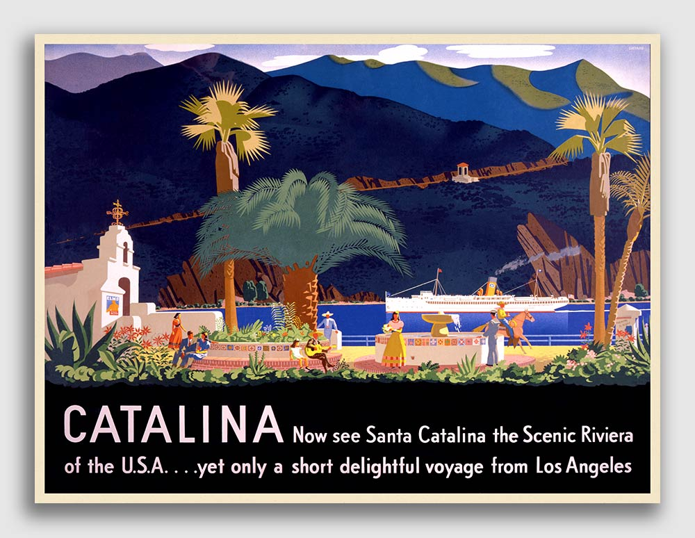 20x28 Catalina Island 1930s Vintage Style California Travel Poster