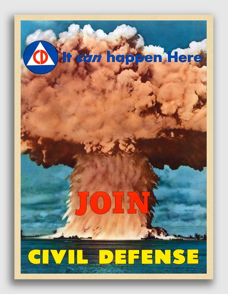 "1951 Join Civil Defense /""It Can Happen/"" Vintage Style Poster 20x28"