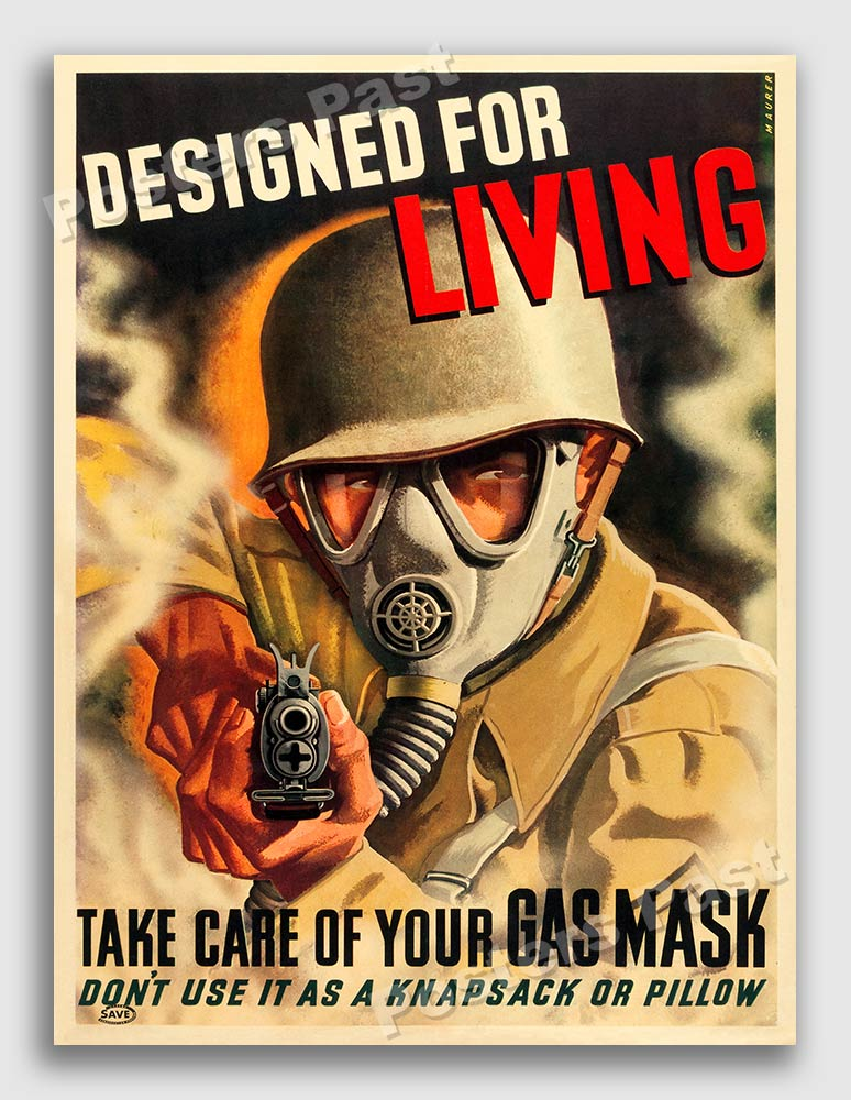 Details about Gas Mask - Designed For Living! 1944 WW2 Vintage War Poster -  16x24