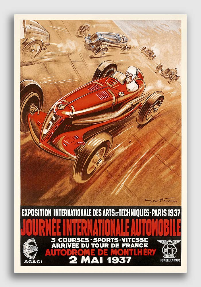 16x24 Grand Prix International Automobile Vintage Style Racing Poster 1920