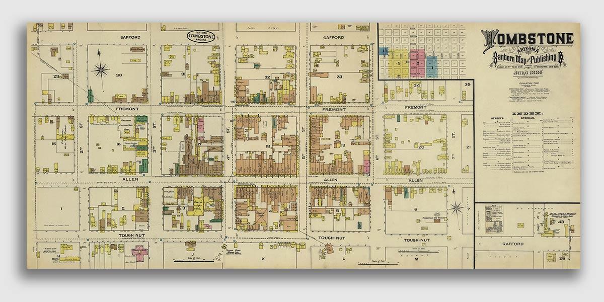 1886 Tombstone Arizona Old West Town Map Gunfight OK Corral 10x24
