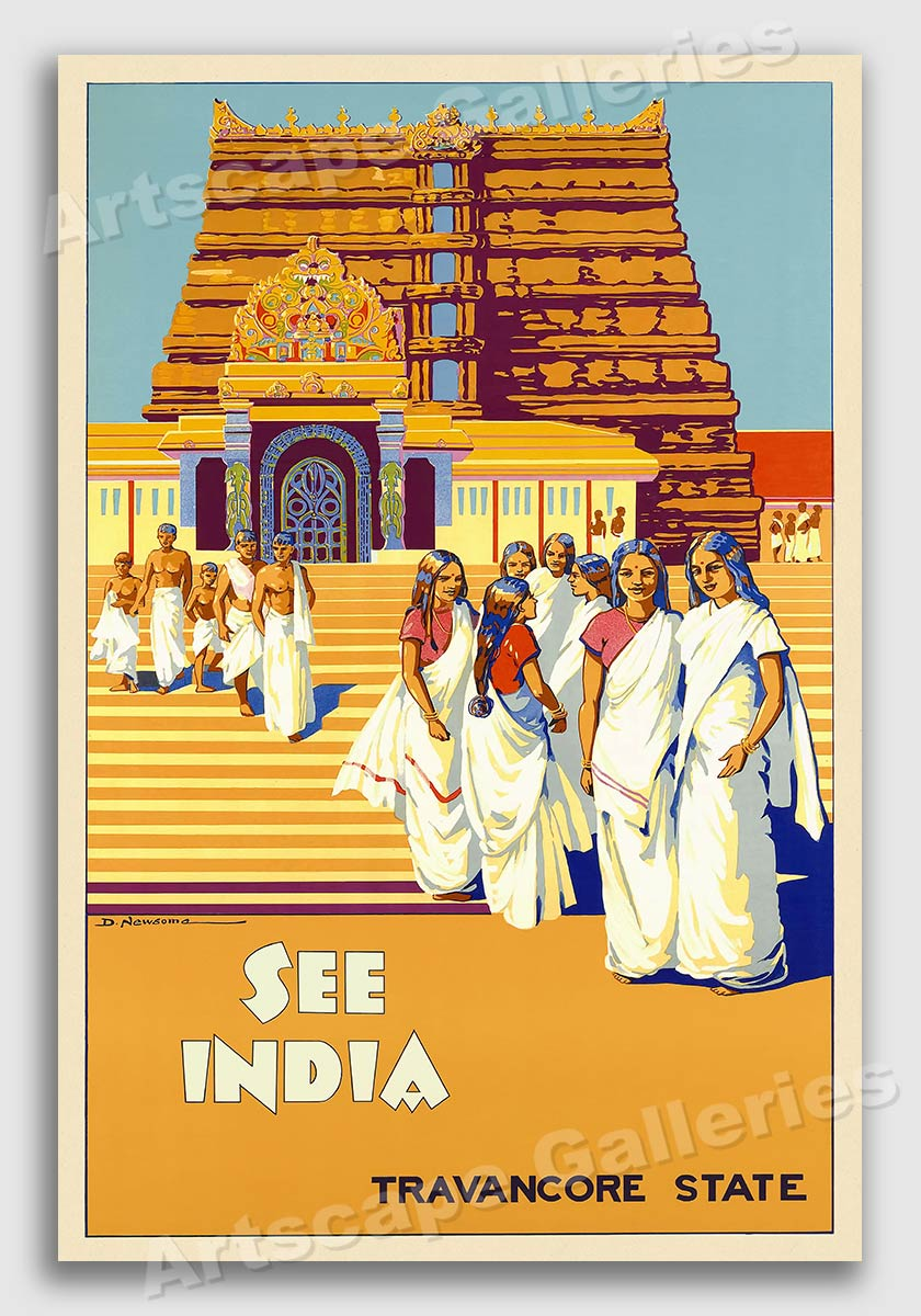 1930s See Calcutta India Temple Vintage Style Railroad Travel Poster 20x30